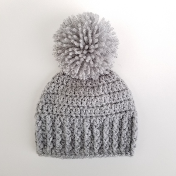Pompom Baby Boy Crochet Hat Newborn - 12 M Gray 29bb667e08c